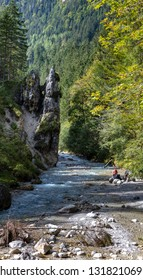 berchtesgaden, bavaria, germany, september, 16, 2015, hiker in the famous almbach gorge in berchtesgadener land