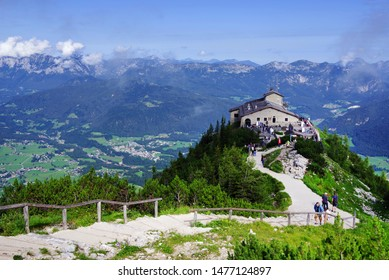 BERCHTESGADEN, GERMANY - AUGUST 06, 2019: The Kehlsteinhaus (also known as the Eagle's Nest) on top of the Kehlstein at 1.834m is the formerly Hitler's home and southern headquarters the Eagle's Nest