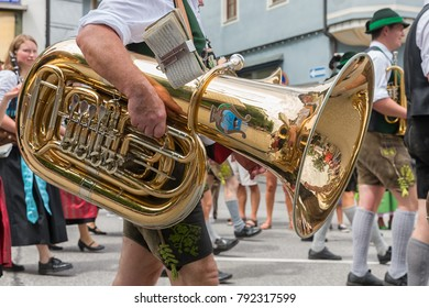 BERCHTESGADEN, GERMANY - JULY 09, 2017: Local festival with parade of fanfare and people dressed in traditonal costumes.
