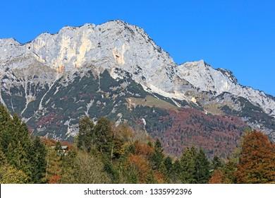 The Berchtesgaden Hochthron, highest peak of the Untersberg massif in Bavaria, Germany. Mountain landscape
