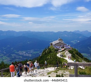 BERCHTESGADEN/GERMANY-AUGUST 15, 2012: Visitors hiking at the Eagle's Nest in Berchtesgaden, Germany. It was presented to Adolf Hitler on his 50th birthday as a retreat and place to entertain friends.