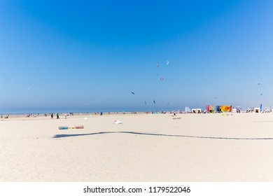 BERCK-SUR-MER, FRANCE - APRIL 20, 2018: 32. International Kite Festival (RICV) in April 2018 at Berck-sur-Mer, Normandy, France