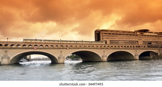 bercy bridge and Ministry of Finance in paris city.