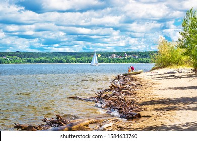 Berd river, Berdsk, Novosibirsk oblast, Western Siberia, Russia-June 15, 2019: View of the confluence of the Berd river and the Ob reservoir