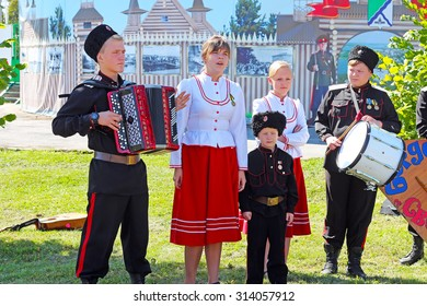 Berdsk, Russia, Siberia - September 9, 2014: Children's clothing Cossacks ensemble at the celebration of the City Day