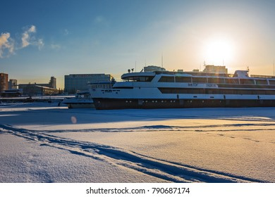 "Berdskiy Bay, river Ave, Berdsk, Novosibirsk oblast, Siberia, Russia - January 2, 2018: the double-decked Passenger river ship ""Viktor Gashkov"" at the winter Parking lot at the pier"