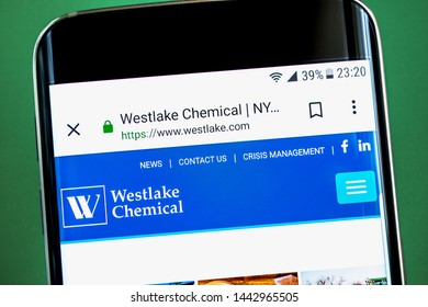 Berdyansk, Ukraine - 1 July 2019: Illustrative Editorial, Westlake Chemical website homepage. Westlake Chemical logo visible on the phone screen.