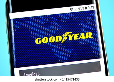 Berdyansk, Ukraine - 1 June 2019: Goodyear website homepage. Goodyear logo visible on the phone screen.
