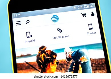 Berdyansk, Ukraine - 10 May 2019: ATT website homepage. ATT logo visible on the phone screen.