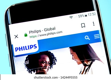Berdyansk, Ukraine - 12 June 2019: Philips website homepage. Philips logo visible on the phone screen, Illustrative Editorial.