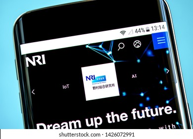 Berdyansk, Ukraine - 14 June 2019: NRI website homepage. Nomura Research Institute logo visible on the phone screen, Illustrative Editorial.