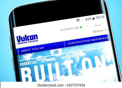 Berdyansk, Ukraine - 14 June 2019: Vulcan Materials website homepage. Vulcan Materials logo visible on the phone screen, Illustrative Editorial.