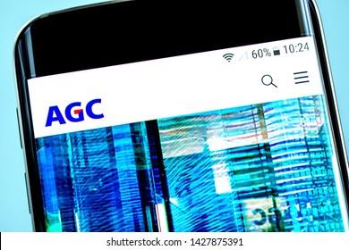 Berdyansk, Ukraine - 14 June 2019: Asahi Glass website homepage. Asahi Glass logo visible on the phone screen, Illustrative Editorial.