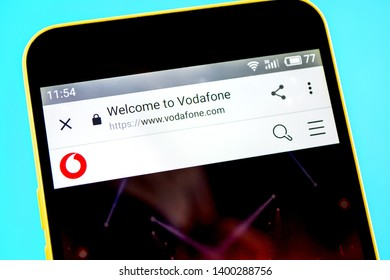 Berdyansk, Ukraine - 14 May 2019: Illustrative Editorial of Vodafone website homepage. Vodafone logo visible on the phone screen.