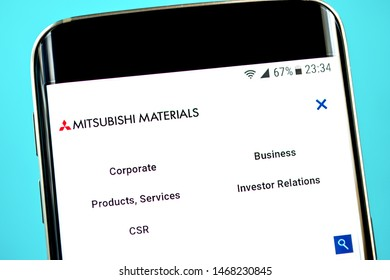 Berdyansk, Ukraine - 15 July 2019: Illustrative Editorial, Mitsubishi Materials website homepage. Mitsubishi Materials logo visible on the phone screen.