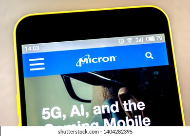 Berdyansk, Ukraine - 15 May 2019: Illustrative Editorial of Micron Technology website homepage. Micron Technology logo visible on the phone screen.