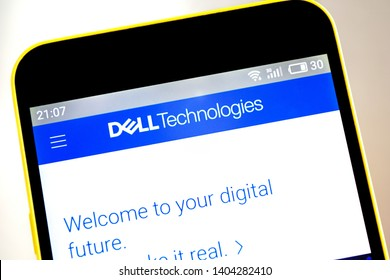 Berdyansk, Ukraine - 15 May 2019: Dell Technologies website homepage. Dell Technologies logo visible on the phone screen, Illustrative Editorial.