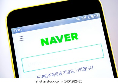 Berdyansk, Ukraine - 15 May 2019: Naver website homepage. Naver logo visible on the phone screen.