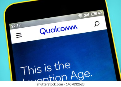 Berdyansk, Ukraine - 23 May 2019: Illustrative Editorial of Qualcomm website homepage. Qualcomm logo visible on the phone screen.