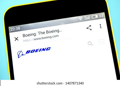 Berdyansk, Ukraine - 23 May 2019: Illustrative Editorial of Boeing website homepage. Boeing Company logo visible on Boeing Company on the phone screen.