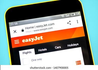 Berdyansk, Ukraine - 24 May 2019: EasyJet airline website homepage. EasyJet logo visible on the phone screen.