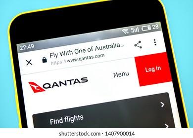 Berdyansk, Ukraine - 24 May 2019: Qantas Airways website homepage. Qantas Airways logo visible on the phone screen.