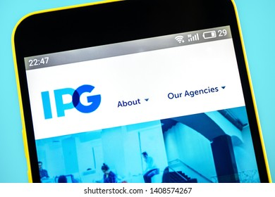 Berdyansk, Ukraine - 24 May 2019: Illustrative Editorial of IPG Photonics website homepage. IPG Photonics logo visible on the phone screen.