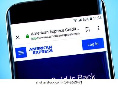 Berdyansk, Ukraine - 28 June 2019: Illustrative Editorial of American Express Company website homepage. American Express Company logo visible on the phone screen.