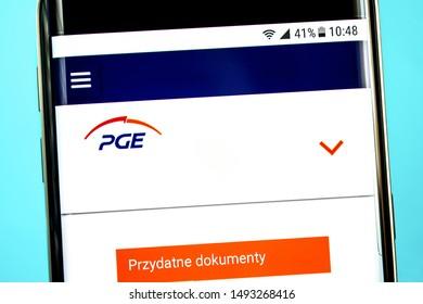 Berdyansk, Ukraine - 29 July 2019: Illustrative Editorial, PGE Polska Grupa Energetyczna website homepage. PGE Polska Grupa Energetyczna logo visible on the phone screen.