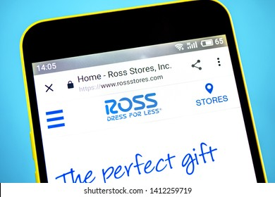 Berdyansk, Ukraine - 29 May 2019: Ross Stores website homepage. Ross Stores logo visible on the phone screen.