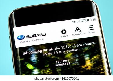 Berdyansk, Ukraine - 30 May 2019: Subaru website homepage. Subaru logo visible on the phone screen.