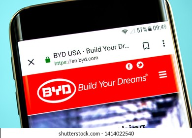Berdyansk, Ukraine - 30 May 2019: BYD website homepage. BYD logo visible on the phone screen.