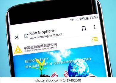 Berdyansk, Ukraine - 4 June 2019: Sino Biopharmaceutical website homepage. Sino Biopharmaceutical logo visible on the phone screen, Illustrative Editorial.