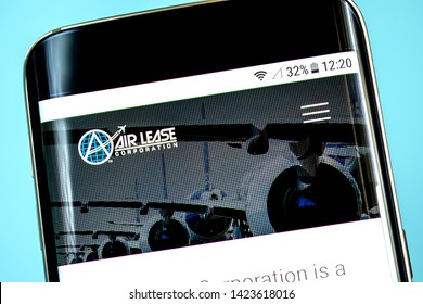 Berdyansk, Ukraine - 6 June 2019: Air Lease Corporation website homepage. Air Lease Corporation logo visible on the phone screen, Illustrative Editorial.