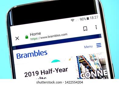 Berdyansk, Ukraine - 8 June 2019: Brambles website homepage. Brambles logo visible on the phone screen, Illustrative Editorial.