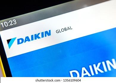 Berdyansk, Ukraine - April 1, 2019: Daikin Industries website homepage. Daikin Industries logo visible on the phone screen, Illustrative Editorial.