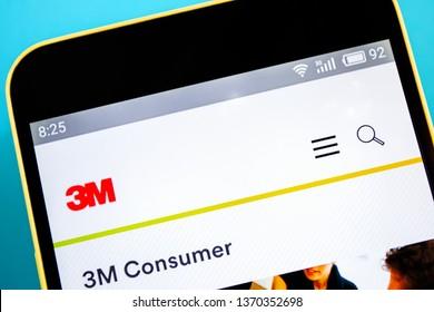 Berdyansk, Ukraine - April 10, 2019: 3M website homepage. 3M logo visible on the phone screen, Illustrative Editorial.