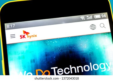 Berdyansk, Ukraine - April 16, 2019: Illustrative Editorial of SK Hynix website homepage. SK Hynix logo visible on the phone screen.