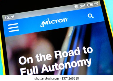 Berdyansk, Ukraine - April 18, 2019: Illustrative Editorial of Micron Technology website homepage. Micron Technology logo visible on the phone screen.