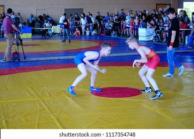 BERDYANSK, UKRAINE - JUNE 12, 2018:  First open all-Ukrainian freestyle wrestling tournament in honor of the master of sports of international class Vladimir Fedorenko.