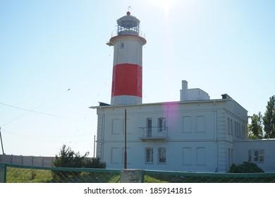 Berdyansk, Zaporizhzhya region / Ukraine - 08.22.2020. Lower lighthouse on the far Berdyansk Spit.