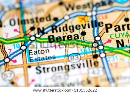 Berea Ohio Usa On Map Stock Photo Edit Now 1131352622 Shutterstock