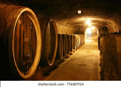 BEREGOVE, Zakarpattia / UKRAINE - JUNE 28 2016: Old wine barrels in a wine cellar