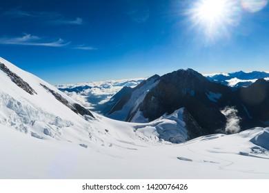Berelskoe sedlo. View to the Belukha Mountain glaciers. Belukha Mountain area. Altai