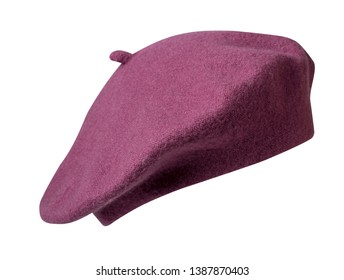 674b1af760723 Beret isolated on white background. Hat female beret front view .