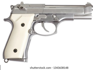 Beretta M92 stainless steel gun isolated on white background