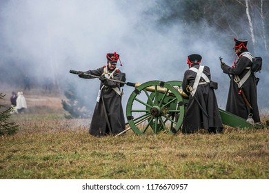 Berezina, Belarus, november 27, 2016: reconstruction of The Battle of Berezina (or Beresina) that took place in November 1812, between the French army of Napoleon and Russian empire army