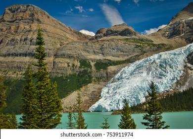 Berg glacier falling into Berg Lake, Mt. Robson provincial park, British Colombia, Canada