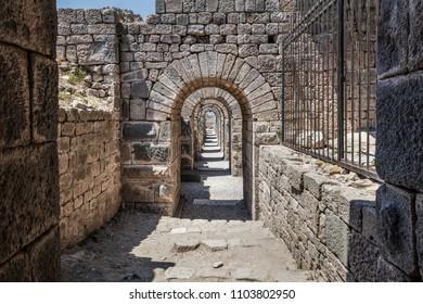 Bergama Acropolis. Archways in the ruins of the ancient city of Pergamon ( Bergama), Izmir, Turkey.