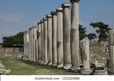 Bergama Acropolis. Archways in the ruins of the ancient city of Pergamon Izmir, Turkey. View of ancient ruins in Asklepion in Bergama